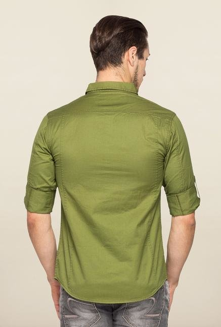 Spykar Green Ranger Slim Fit Solid Shirt