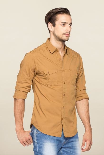 Spykar Khaki Ranger Slim Fit Solid Shirt