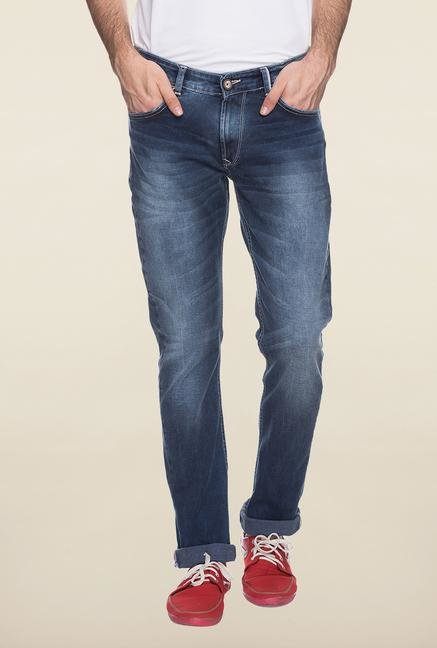 Spykar Blue Lightly washed Denim Jeans