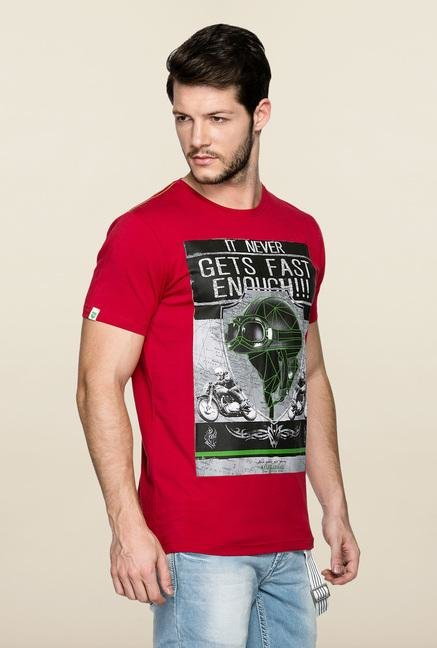 Spykar Red Printed Cotton T Shirt
