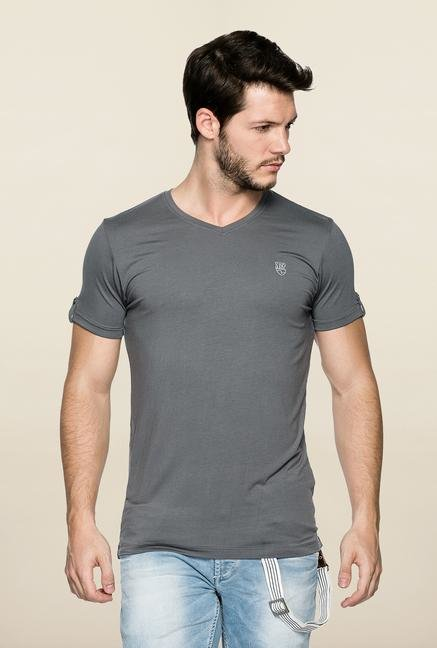 Spykar Grey Solid V Neck T Shirt