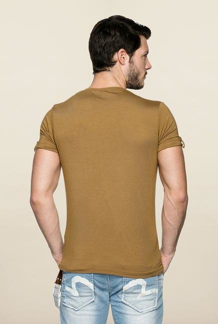 Spykar Khaki Solid V Neck T Shirt