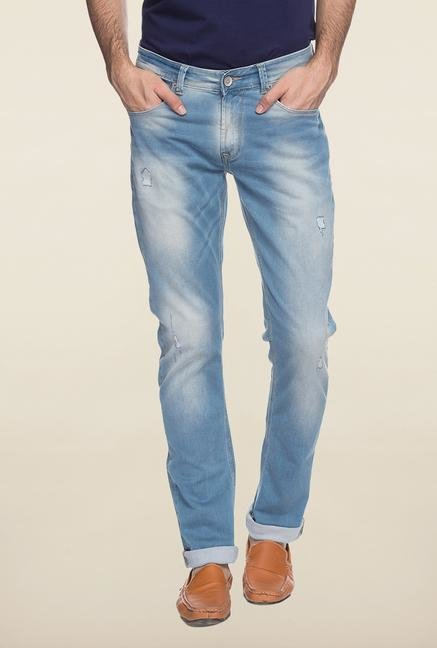 Spykar Blue Denim Ripped Jeans