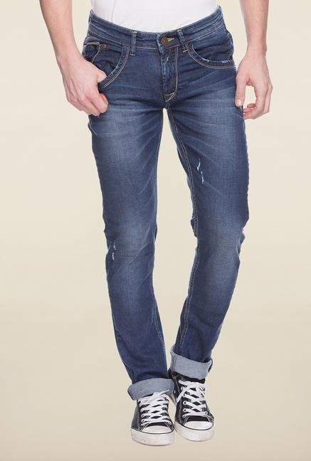 Spykar Blue Distressed Denim Jeans