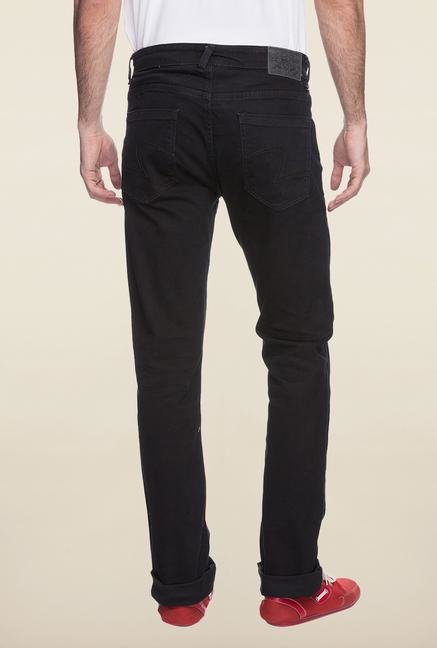 Spykar Black Straight Fit Denim Jeans