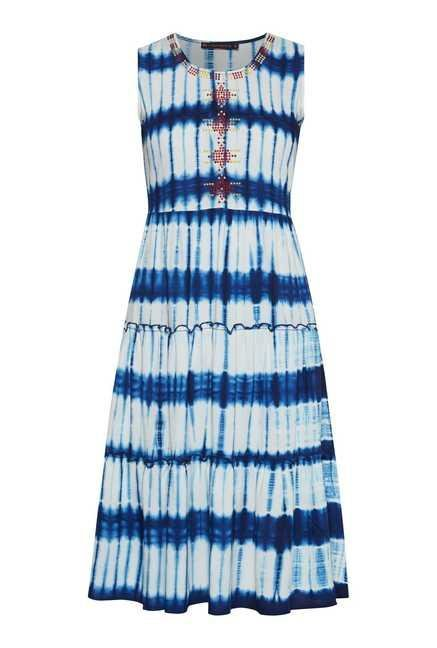 Fusion Beats Blue Tie Dye Dress