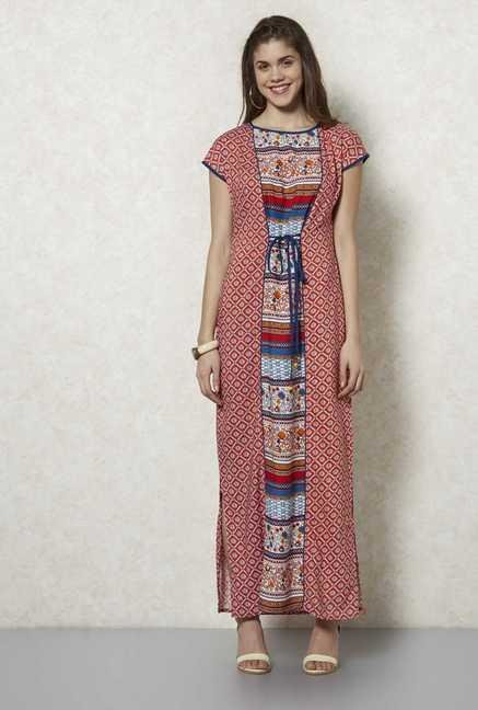 Fusion Beats Red Printed Maxi Dress