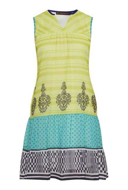 Fusion Beats Lime Printed Sleeveless Dress