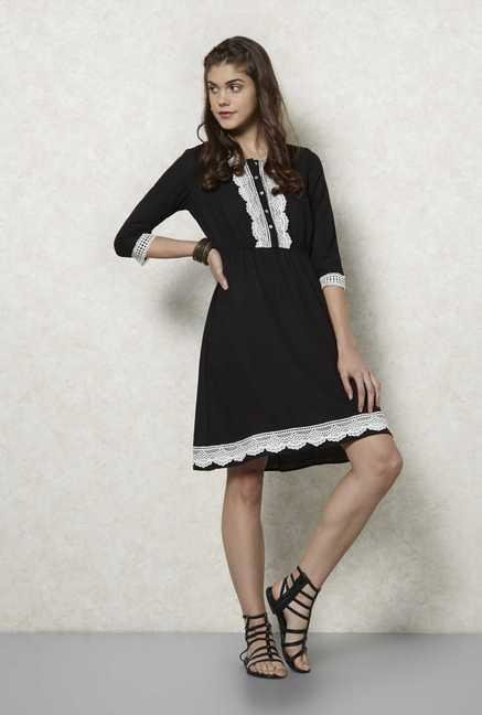Fusion Beats Black Crochet Dress