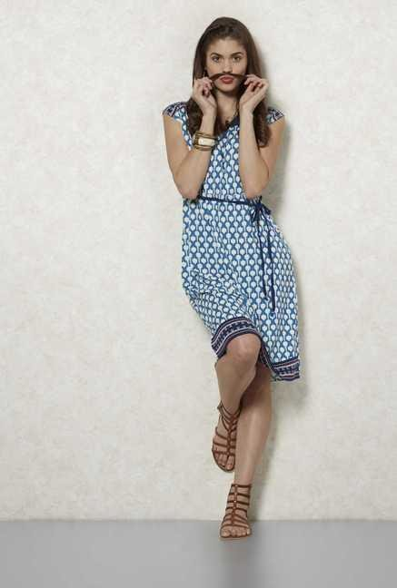 Fusion Beats Indigo Ikat Dress