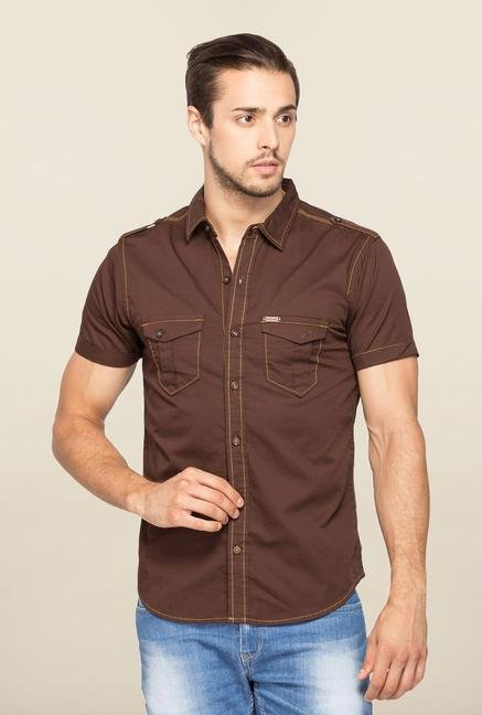 Spykar Brown Ranger Cotton Slim Fit Shirt
