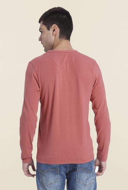 Jack & Jones Maroon Solid Henley T Shirt