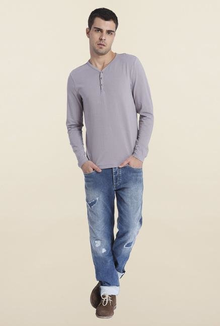 Jack & Jones Grey Solid Henley T Shirt
