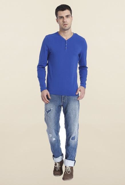 Jack & Jones Blue Solid Henley T Shirt