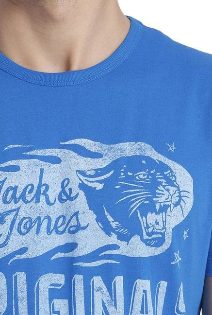 Jack & Jones Blue Printed Crew Neck T Shirt