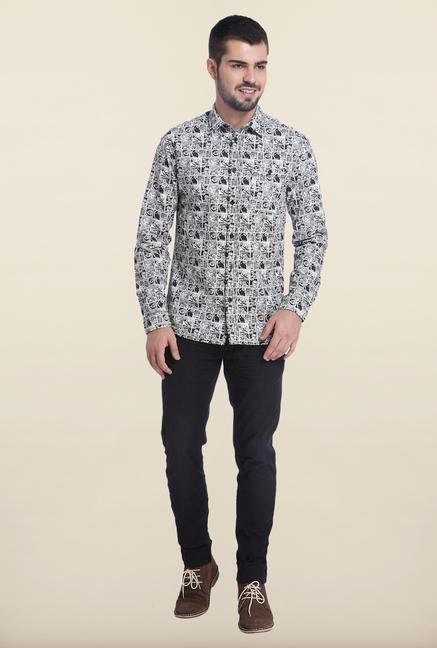 Jack & Jones White Printed Cotton Shirt