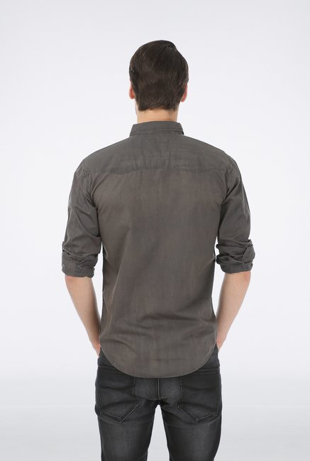 Basics Dark Grey Slim Fit Casual Shirt