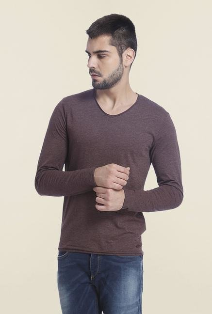 Jack & Jones Fudge V Neck Solid T Shirt