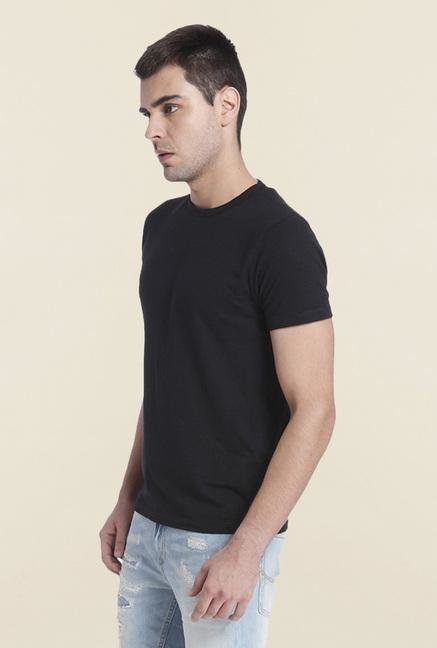 Jack & Jones Black Slim Fit Solid T Shirt
