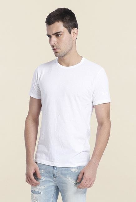 Jack & Jones White Solid Cotton T Shirt