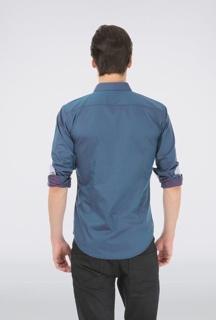 Basics Blue Slim Fit Shirt