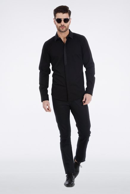 Basics Black Slim Fit Shirt
