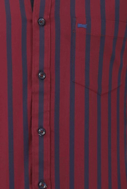 Basics Red Wide Striped Shirt