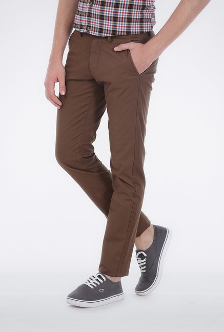 Basics Brown Twill Weave Trouser