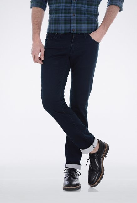 Basics Navy Skinny Fit Casual Trouser