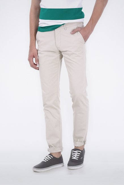 Basics Ecru Ribbed Trouser