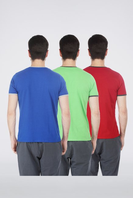 Basics Red, Green, Blue Crew Neck T Shirt