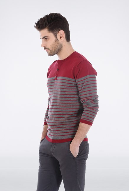 Basics Red Henley Neck T Shirt