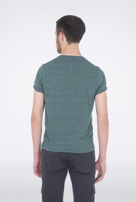 Basics Green Henley Neck T Shirt