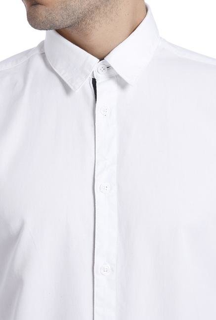Jack & Jones White Cotton Solid Shirt
