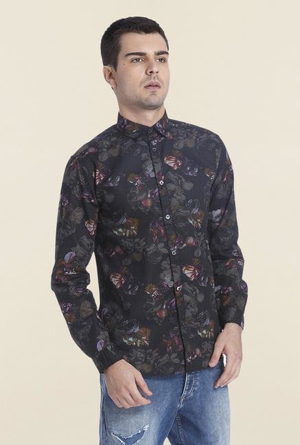 Jack & Jones Black Floral Cotton Shirt