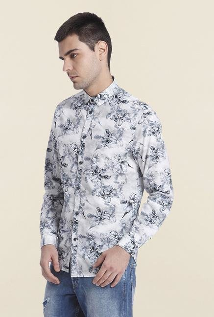 Jack & Jones White Cotton Floral Shirt