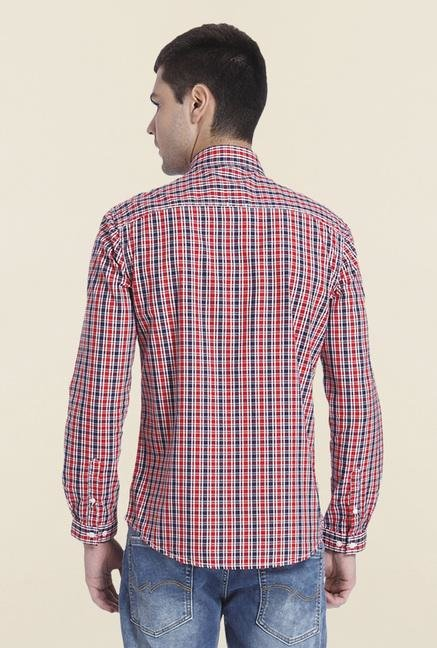 Jack & Jones Red Cotton Checks Shirt