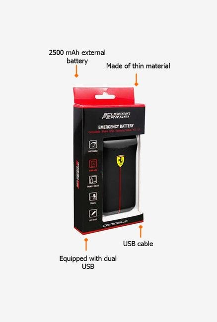 Scuderia Ferrari 2500 mAh Power Bank (Black)