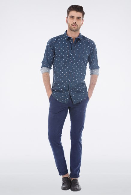 Basics Navy Printed Shirt