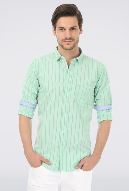 Basics Green Slim Fit Casual Shirt