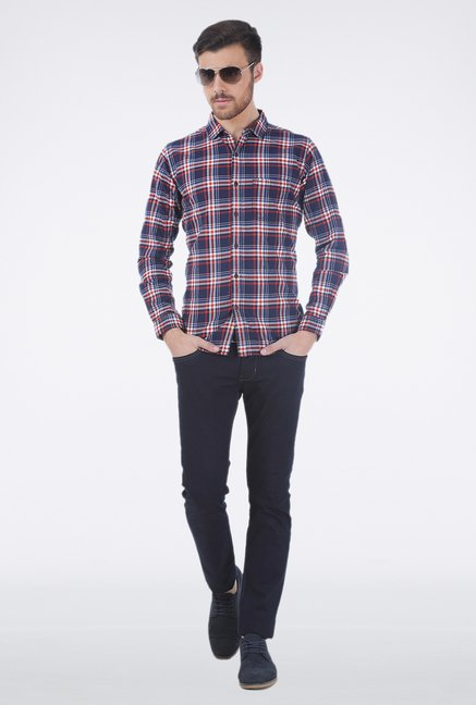 Basics Red Slim Fit Plaid Shirt