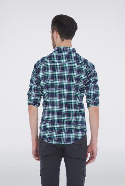 Basics Green Slim Fit Plaid Shirt
