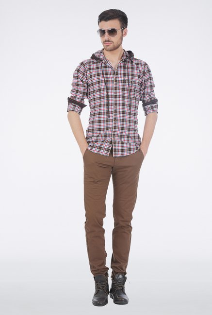 Basics Brown Checkered Shirt
