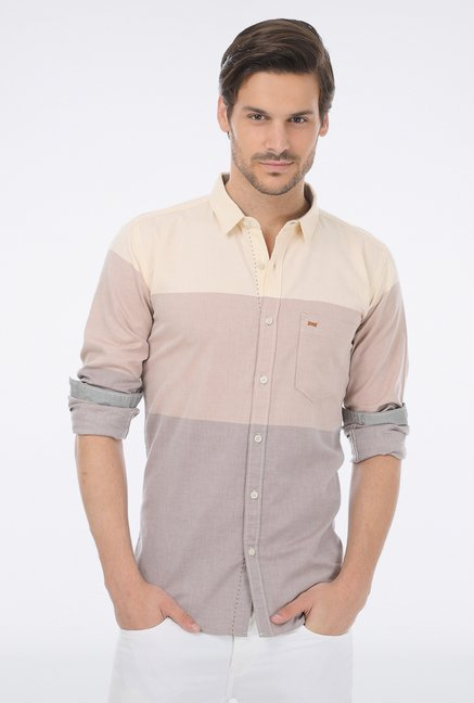 Basics Brown Striped Casual Shirt