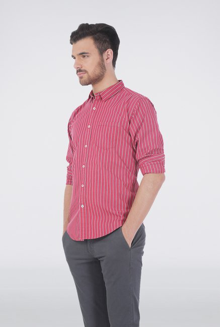 Basics Red Pencil Stripe Shirt