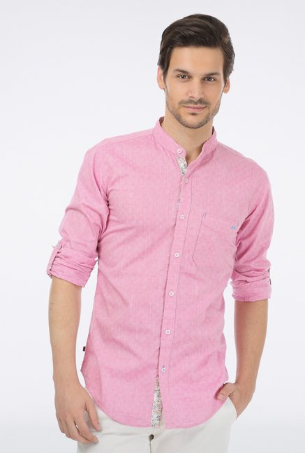 Basics Pink Cotton Casual Shirt