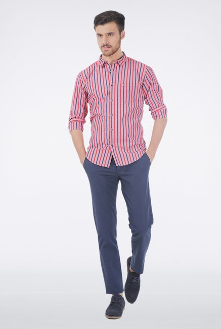 Basics Red Stripe Casual Shirt