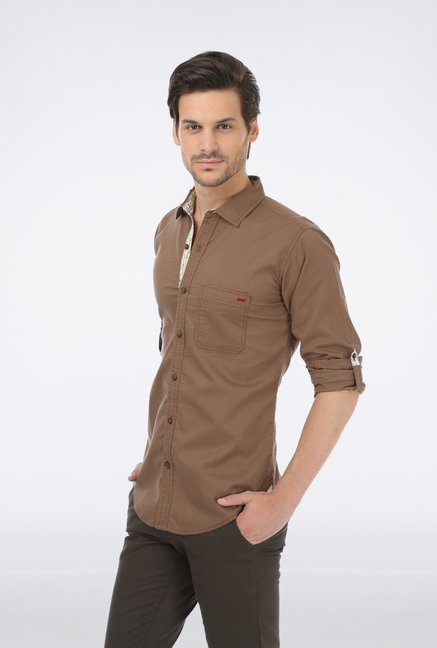 Basics Brown Slim Fit Casual Shirt