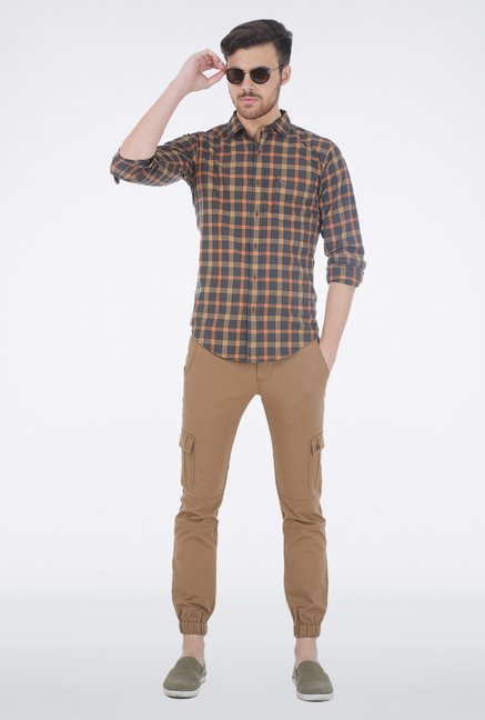 Basics Beige Checkered Shirt