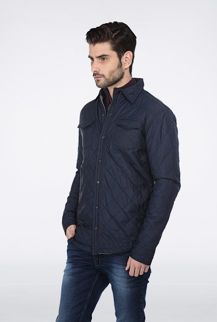 Basics Navy Polyfill Shacket